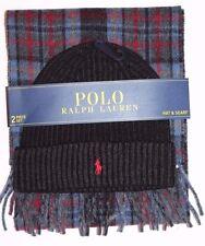 New Polo Ralph Lauren Men's Merino Wool 2 Piece Set Hat & Scarf Reversible