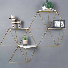 Set of 2 Geometric Wall Shelf Triangle Storage Shelving Gold Metal Display Unit