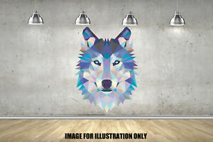 Wolf Geometric Animals Childrens Wall Stickers Bedroom Wall Art 3 Sizes
