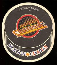 MOLSON BREWERY CANADIAN BEER VANCOUVER CANUCKS  NHL HOCKEY TEAM COASTER TRIVIA