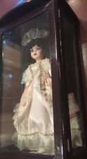 """Rose collection porcelain doll """"LYNN"""" 17"""" tall in Original wooden display case"""