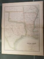 Large Antique Original Texas Map from 1856 - Hand Colored - A. Fullerton Publish