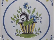Vintage French Faience MAJOLICA Tile FLOWERS Hand Painted
