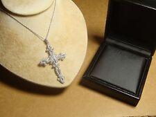 "Nadri Cross Pendant Swarovski Crystals Chain 16"" LARGE 2 5/8"""