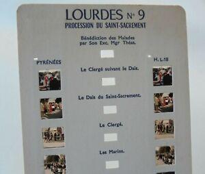 Carte Stéréoscopique ROMO LOURDES N°9 - Procession du Saint-Sacrement en 10 VUES