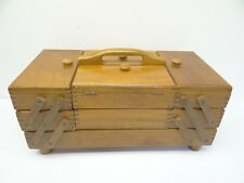 Vintage Wood Sewing Caddy Accordion Style Fold Out Drawers Fingerjoint Romania