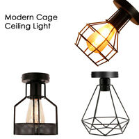 E27 Vintage Retro Industrial Flush Mount Scone Ceiling Cage Pendant Light Lamps