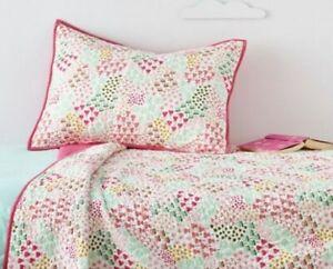Pillowfort  2 PIECE QUILT SET TWIN Pink Fetching Florals Quilted  New GIRLS