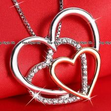 Rose Gold & Silver Crystal Diamond Heart Necklace Pendant Chain Gift for Her TU1