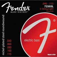Fender 7250-5L Super Nickel-Plated Steel Long 5-String Light Bass Strings 40-115