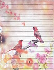 Cardinal Birds Lined Stationery Set, with 25 sheets and 10 envelopes
