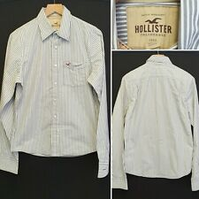 Men's HOLLISTER Light Grey & White Striped Long Sleeve Shirt - Size M Medium