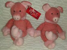 """10""""Set of 2 Russ Berrie Posie The Soft Pink Fluffy Pig Plushies"""