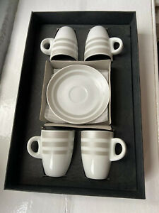 Vintage Espresso Coffee Set X4 Cups & Saucers 110mm d Matt Silver Hoops On White