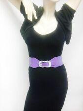 Thin Women Elastic Purple Belt With Unique Rhinestones Buckle Sizes S M L