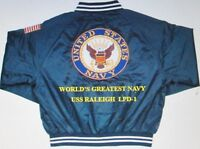 """USS RALEIGH  LPD-1  NAVY ANCHOR """" EMBROIDERED 2-SIDED SATIN JACKET"""