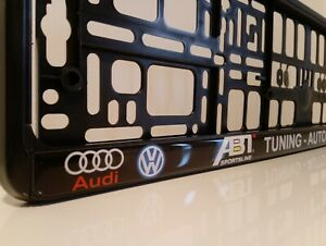 2 xCar Number Plate Frame  Holders fits  ABT TUNING AUTOHAUS Audi VWdomed gloss