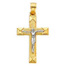Free Chain Real 14k Yellow White Gold Jesus Cross Crucifix Vintage Pendant Charm