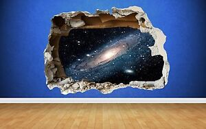 Space Wall Sticker Milky Way Smashed Wall Full Colour art decal boys bedroom