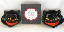 3pc Cat Bowl And Cat Wooden Sign Lady With Catitude Desk Sitter Halloween Decor