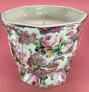"Vtg Porcelain Formalities Baum Bros Candle in Vase 4.5"" x 5.5"" Tea Roses Pinks"