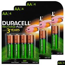 12 x Duracell Recharge Plus AA 1300mAh batteries NiMH 1.2V HR6 DC1500 Stilo