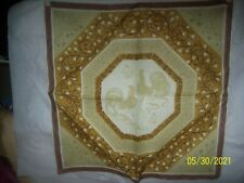 Tammis Keefe Vintage Handkerchief Rooster Floral Border Gold Yellow Signed Nice