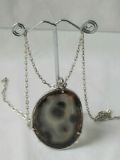 Modernist (mid-century?) large silver agate pendant with chain stylish beautiful