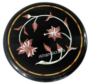 13 Inches Pink Stone Flower Art Coffee Table Top Round Marble Sofa Side Table