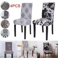 4PCS Dining Chair Seat Covers Slip Stretch Wedding Banquet Party Removable New