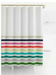New Kate Spade New York Fabric Cotton Shower Curtain- Candy Stripe 72 X 72 In.