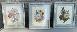 3X Vtg Framed Donald Art Co Prints Flowers Floral Bouquet Trio Set Cottagecore