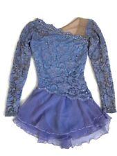 New listing Sharene Figure Skating Dress Lilac Purple Nude Mesh Lxs Rhinestones Long Sleeve