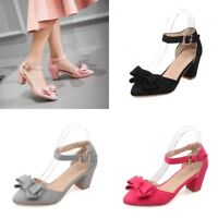 Womens Bows Ankle Strap Block Heels Pumps Pointed Toe Sandals Suede Casual Shoes