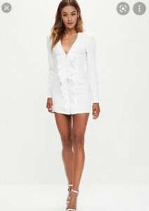 Missguided White Frill Front Extreme Shoulder Pads Dress Size 8