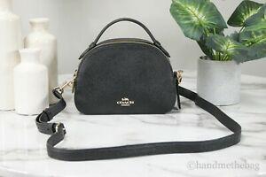 Coach 1589 Serena Black Grainy Leather Satchel Bag Crossbody Handbag Purse