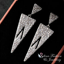 18K White Gold Filled Full Diamond Fashion Rectangle Casual Formal Earring