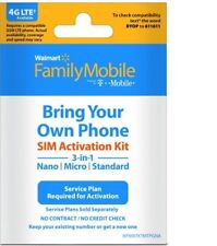 Walmart Family Mobile Starter Kit Powered By T-Mobile Nano Sim Card 3/1