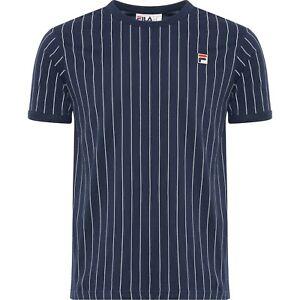 FILA Mens Vintage Pinstripe Guilo Retro T-Shirt Navy