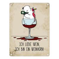 Metallschild Honeycorns Einhorn mit Spruch: Ich bin ein Weinhorn! Schild