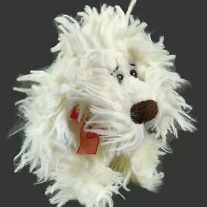 "Vintage Russ Curly White Dog Plush 11"" Shaggy Fluffy Fuzzy Puppy Stuffed Animal"