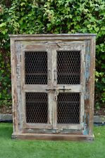 Shabby Chic Reclaimed Timber Country Storage Wire Door Cabinet Wardrobe