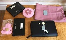 Black Cream Radley Leather Purse Wallet Bird Girl Ahoy BNWT Mirror & Key ring