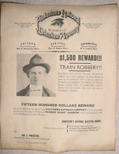 "Reuben ""Rube"" Burrow Wanted Poster, Pinkerton, old west,outlaw, western, Burrows"