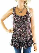 Size 8 - 10 Ladies Pink Ditsy Floral Print Vest Top Women's