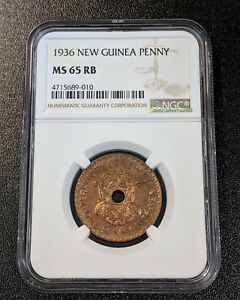 1936 MS65 RB New Guinea Penny NGC KM 6 Single Year Type Nice Luster Still