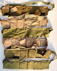 "US WWII LIGHT OD/KHAKI COLORED COTTON 6 POCKET M1 GARAND ""EMPTY"" BANDOLIERS"
