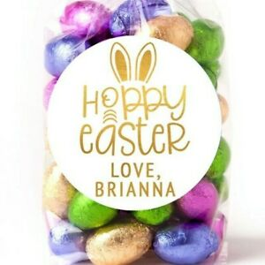 Easter Stickers - HOPPY Easter Gold Foil - Personalized Easter Sticker Labels