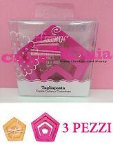SET 3 TAGLIAPASTA PENTAGONO DECORA IN PLASTICA 3 MISURE X BISCOTTI CAKE DESIGN