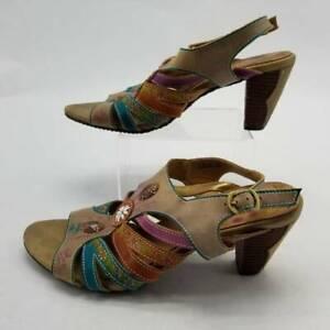 Spring Step LArtiste Womens Lilac Sandals Beige Blue Floral Cuban Heels Buckle 9